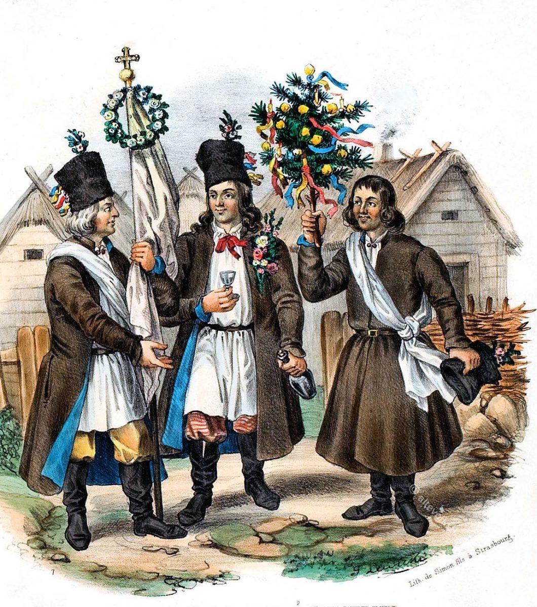Polnische Landleute aus der Gegend von Lublin, am Tage der Hochzeit.