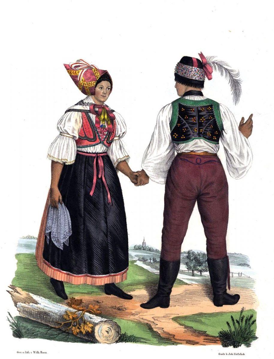 Břeclav, Mährische Volkstrachten, Brünner Kreis, Herrschaft Lundenburg (Břeclav), lediges Paar.