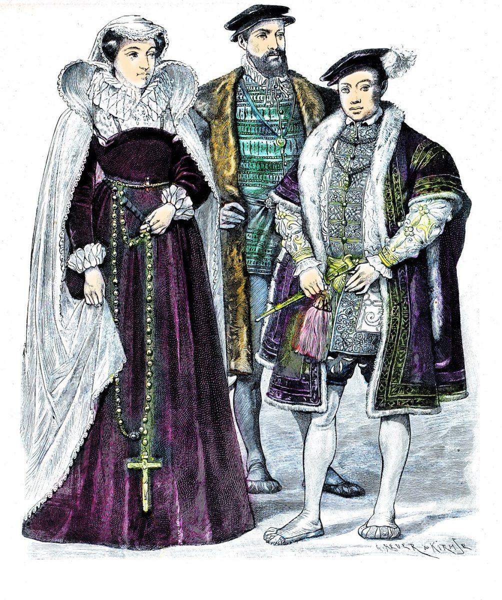 Maria Stuart von Schottland Ende v. 1500. Graf Douglas von Angus 1570. Eduard VI. 1550. Englische Renaissance Mode. Tudor Epoche.