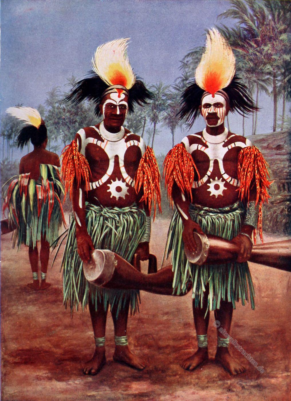 Tänzer, Körperbemalung, Flyriver, Festtracht, Neuguinea, Trachten, Musikinstrumente,