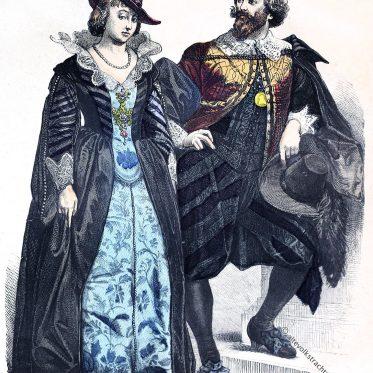 Kleidung vornehmer Niederländer um 1640.