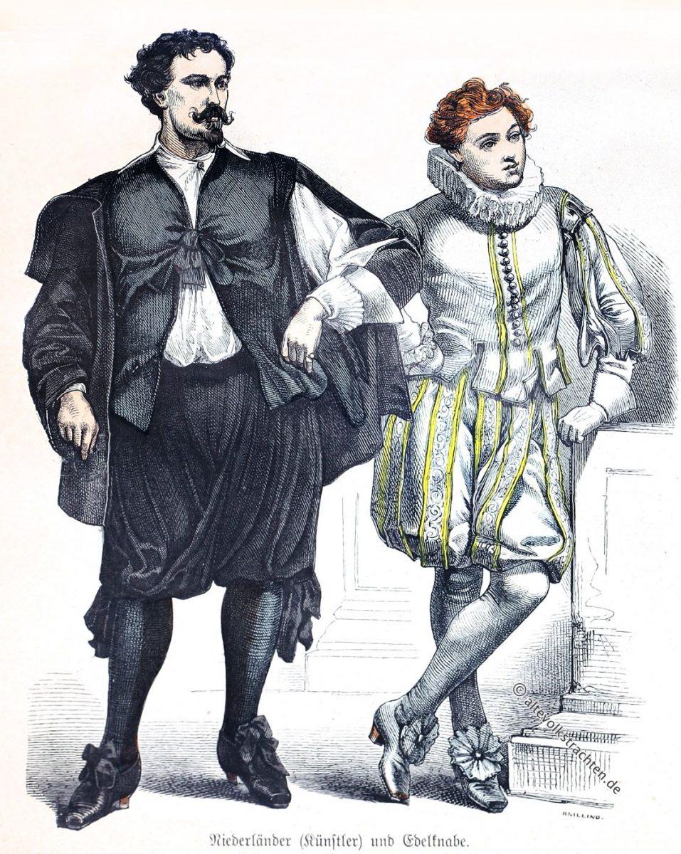 Trachten des Barock. Kleidung eines Künstlers und Edelknaben in den Niederlanden um 1630.