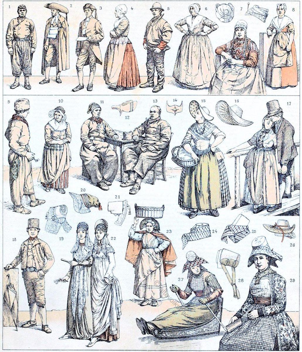 Niederlande. Moderne Trachten. Zusammengestellt mit solchen aus dem Anfang des 19. Jahrhunderts.