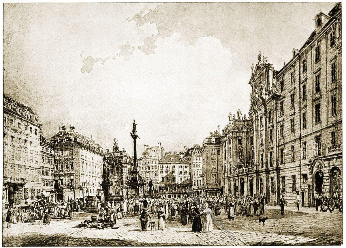 """Der Platz """"Am Hof"""". Nach einem Aquarell von Rudolf von Alt (1812-1905). Kunststadt Wien"""