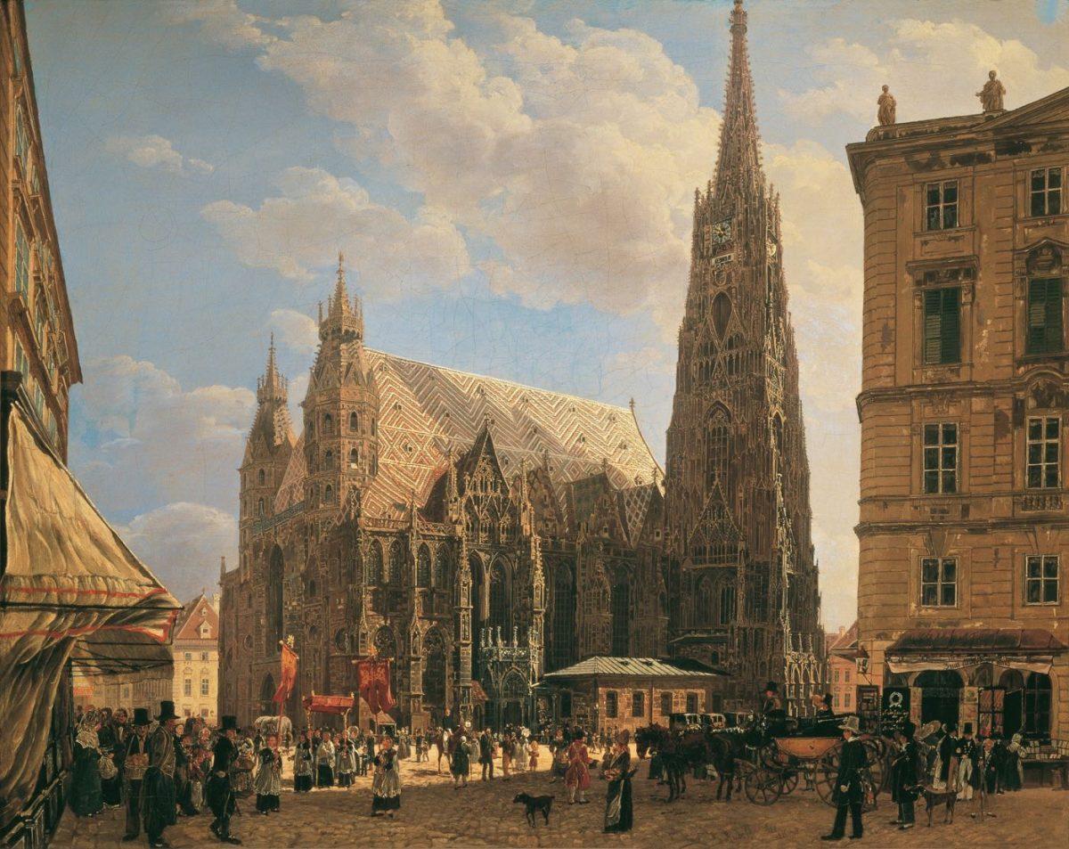 Die Stephanskirche in Wien, 1832. Gemälde von Rudolf von Alt.