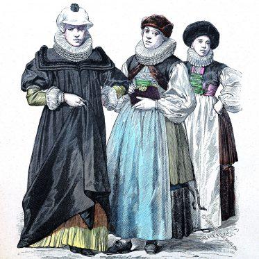 Bürgerliche Frauentrachten aus Straßburg und Basel, 1644.