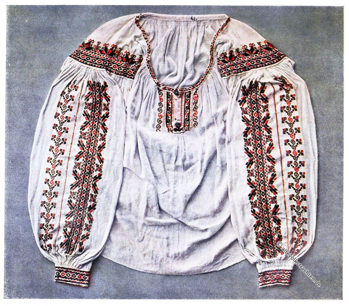 Ältere Art von Frauenbluse, verziert mit Baumwollkreuzen aus Poroshkovo, Ukraine.