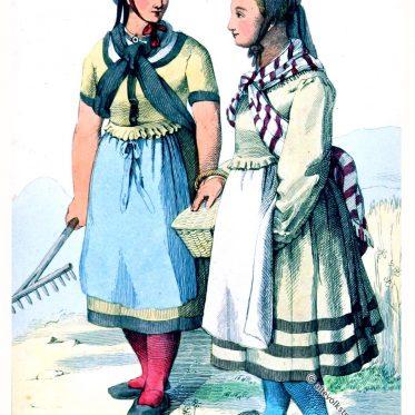 Frauentrachten aus Helsa, Hessen.