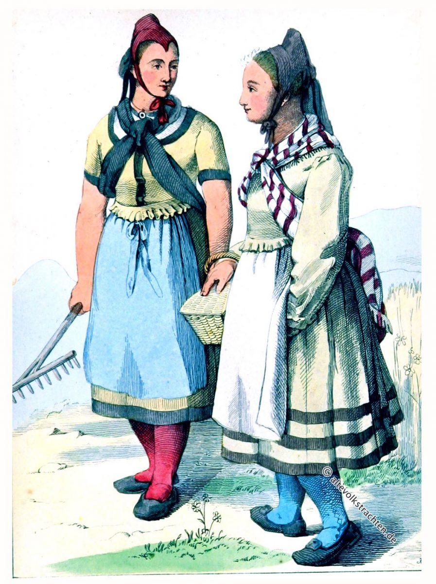 Landmädchen aus der Helsa bei Kassel, Hessen.