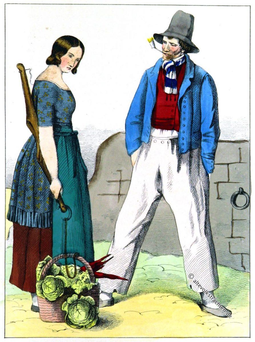 Schiffmeister mit einem Dienstmädchen. Leer in Ostfriesland.