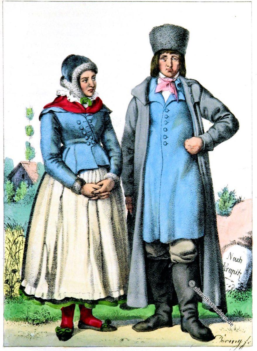 Paar in der Tracht von Oberschlesien. Das deutsche Volk in seinen Mundarten, Sitten, Gebräuchen und Trachten von Eduard Duller.