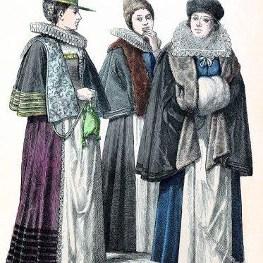 Bürgerliche Frauentrachten. München, Nürnberg und Wien. 17. Jh.