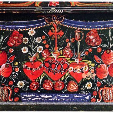 Tölzer Bett von 1820-30, Fußbrett.