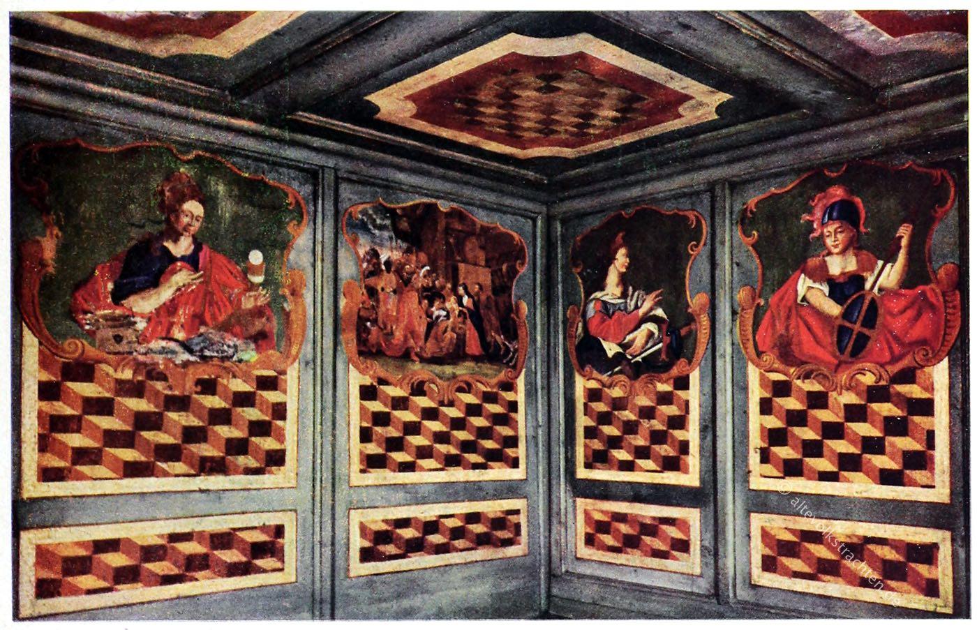 Wandvertäfelung, Bemalung, Bauernmöbel, Volkskunst, Antik, Österreich, Barock, Tirol,