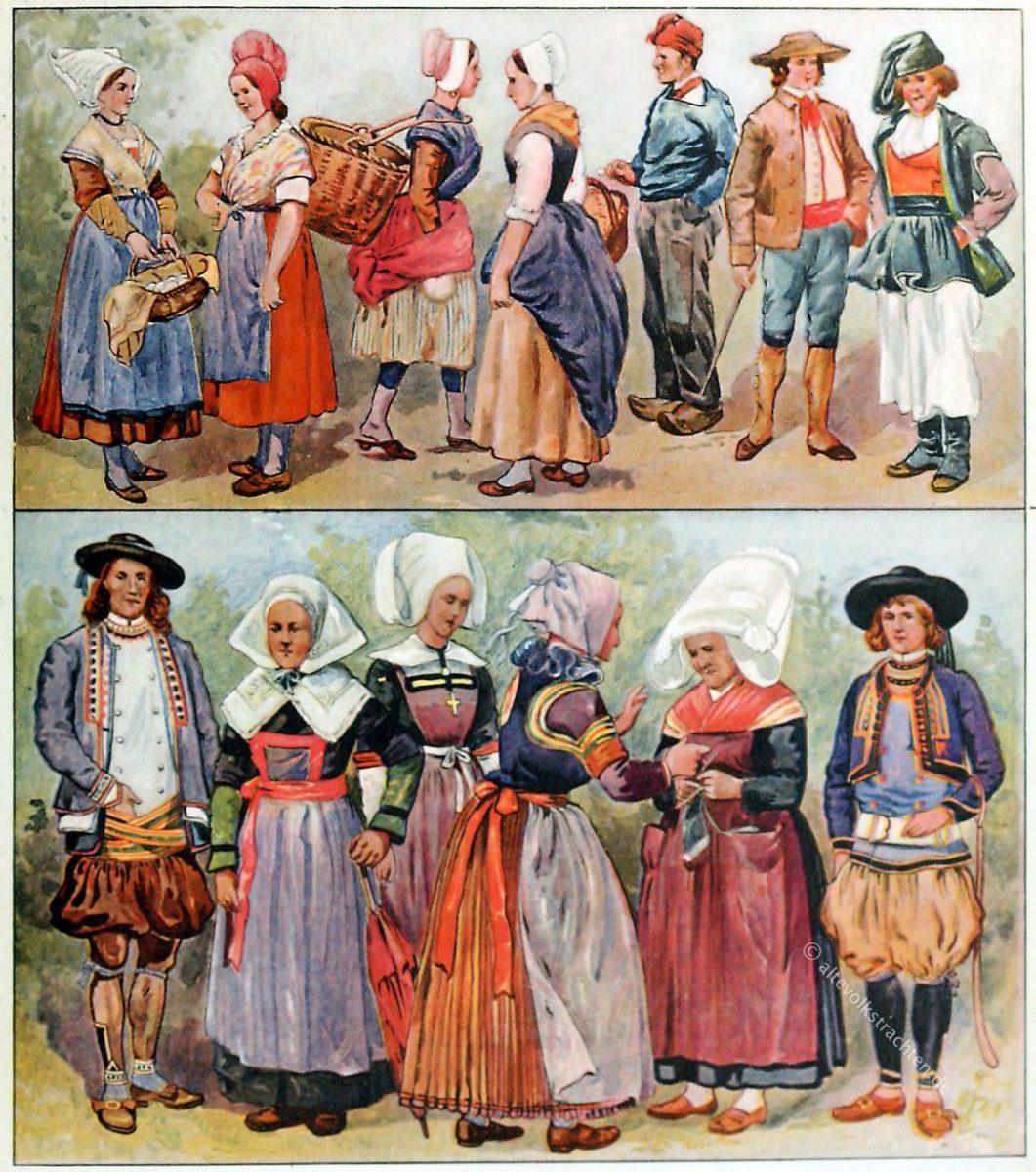 Volkstrachten der Bretagne, Provence, Normandie, Savoyen, Korsika
