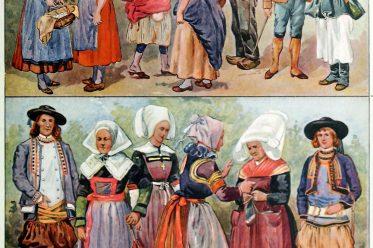Volkstrachten, Bretagne, Provence, Normandie, Savoyen, Korsika, Frankreich, Adolf Rosenberg