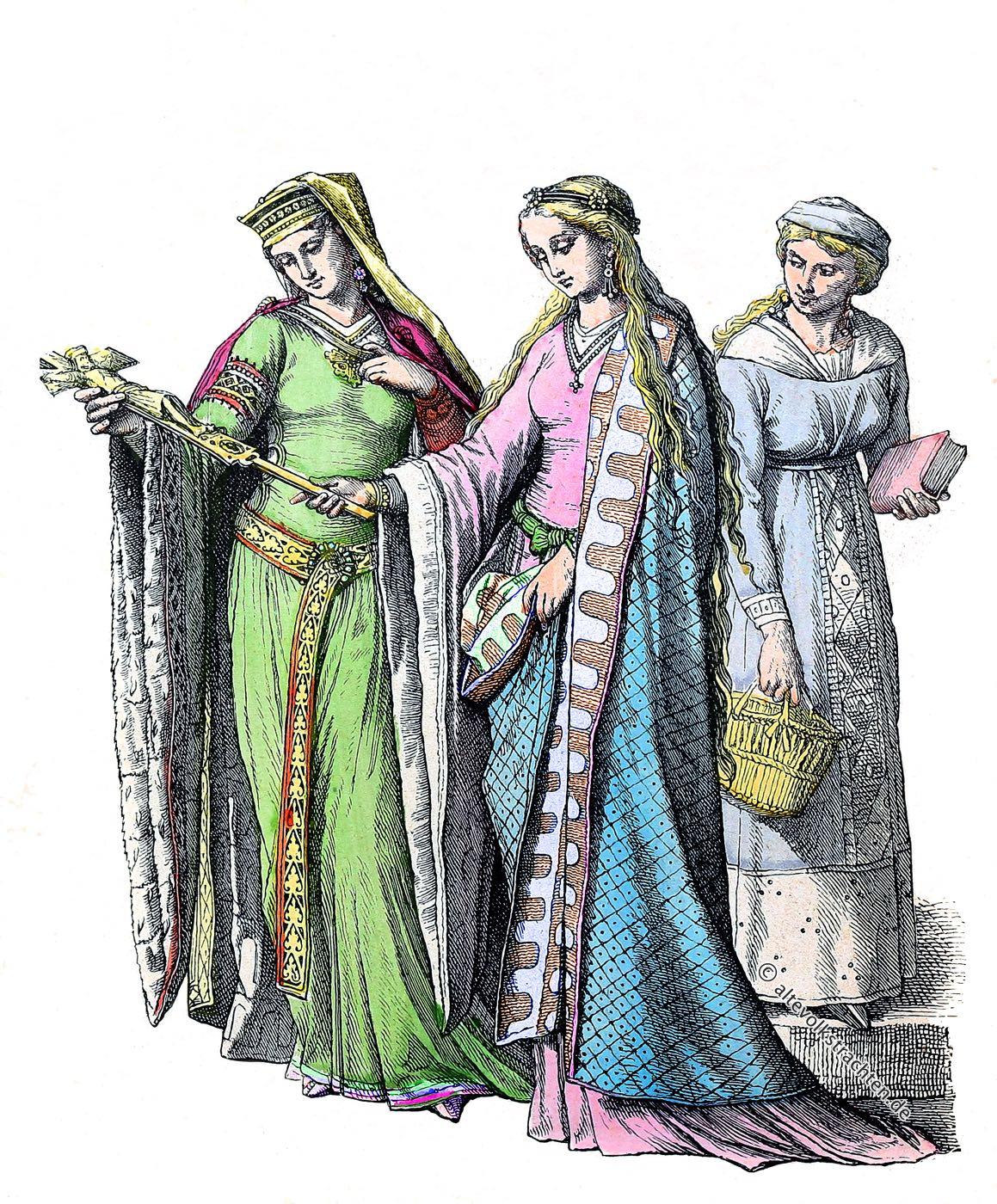 Münchener Bilderbogen, Edeldamen, Bürgerin, Kostüme, Mittelalter, Kleidung, Gewandung