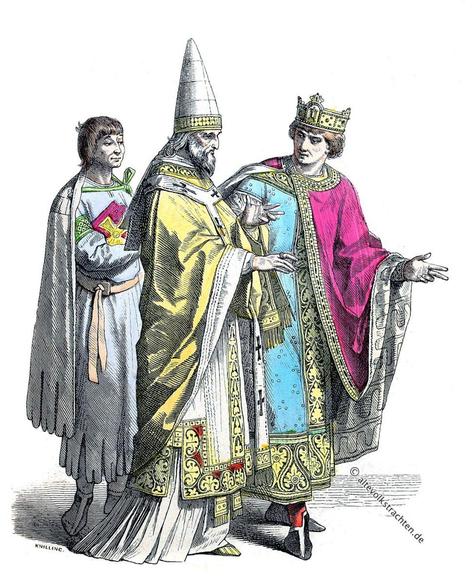 Byzantinische Kleidermode. Diener, Römischer Papst, König im 10 Jh.