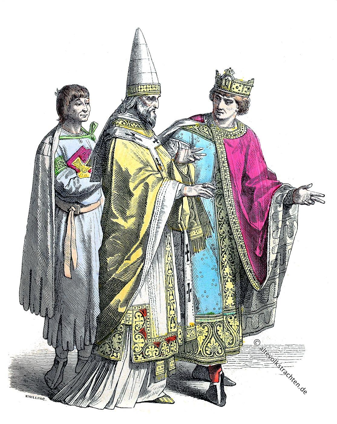 Diener, Papst, König, Mittelalter, Kleidung, Kostüme