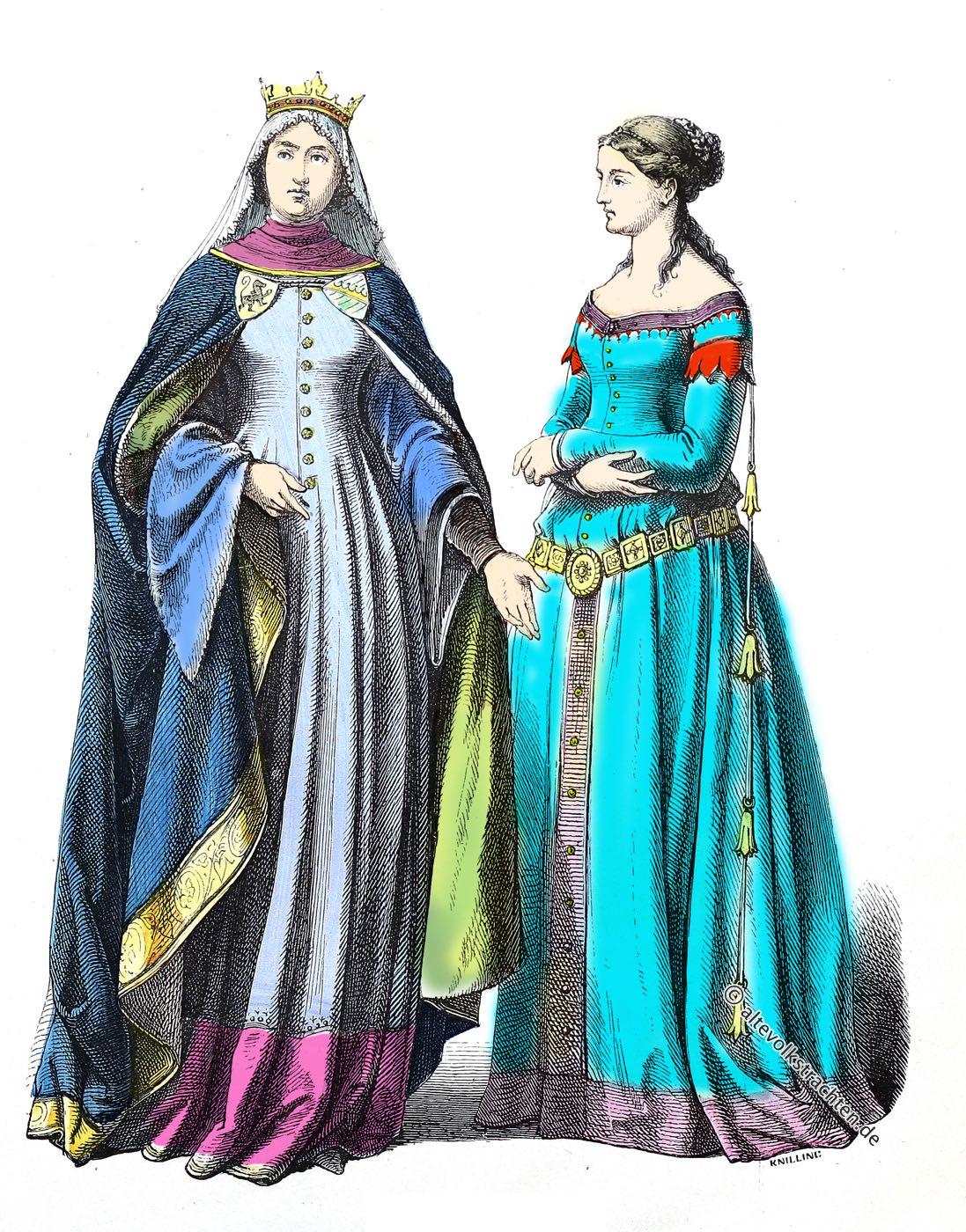 Münchener Bilderbogen, Mittelalter, Deutschland, Fürstin, Edeldame, Kostüme, Modegeschichte, 14. Jahrhundert,