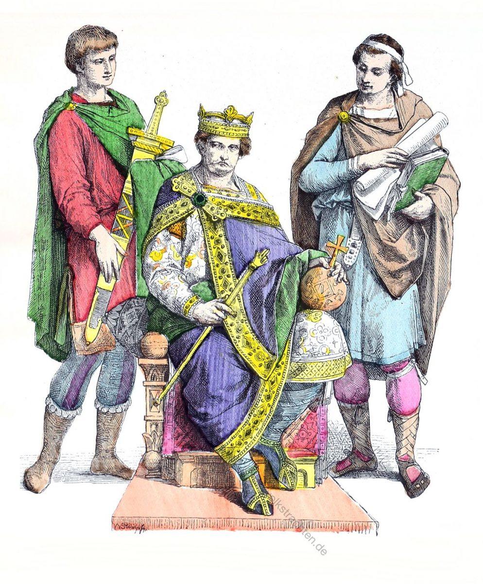 Karl der Große im kaiserlichen Ornat, mit Hofschreiber und Knappe.