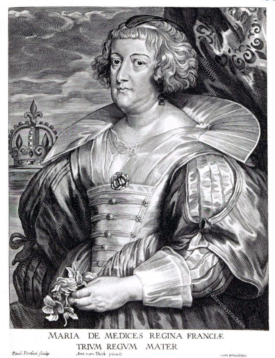 Maria von Medici, Gemahlin Heinrichs IV., Königin von Frankreich 1600-1642.  Geb. 26. April 1573, gest, 3. Juli 1642.