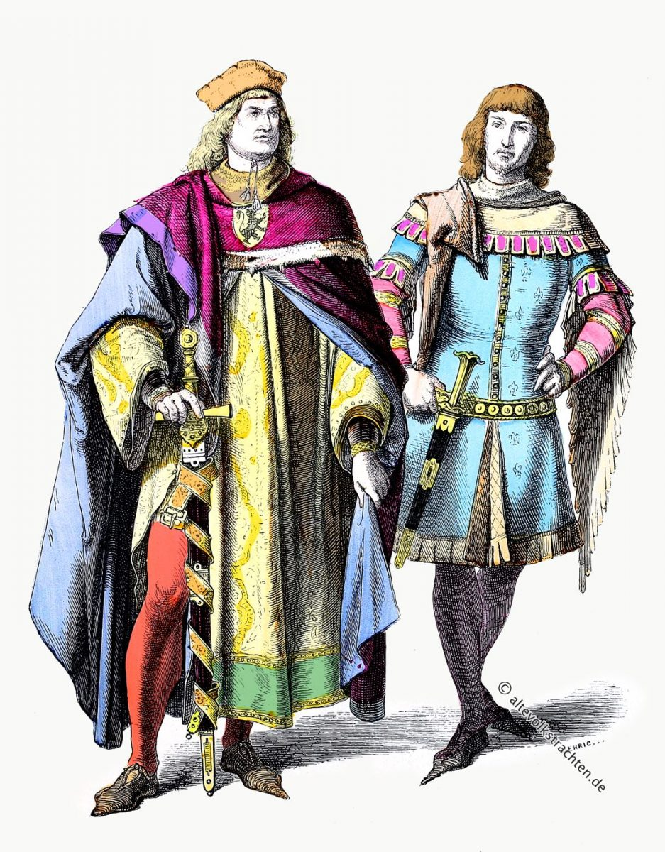 Deutsche Fürst und Ritter Kostüme. Modegeschichte 14. Jahrhundert.