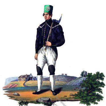 Sächsischer Bergmann bei Beschert Glück in Paradetracht um 1830.