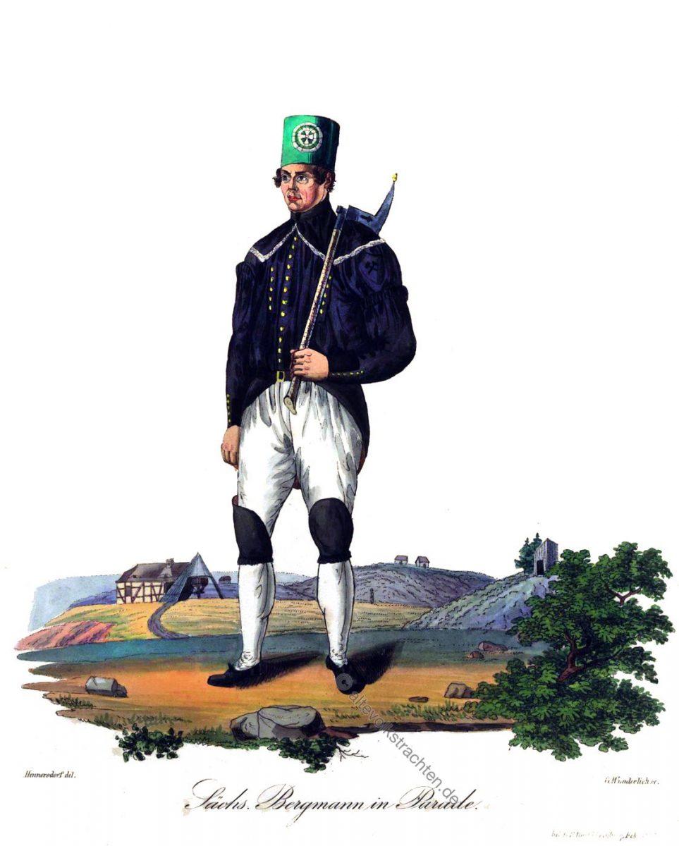 Sächsischer Bergmann bei Beschert Glück bei Freiberg, in Paradetracht um 1830. Trachten der Berg- und Hüttenleute in Sachsen.