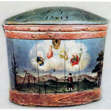 Bemalter Wasserkübel aus Tirol.