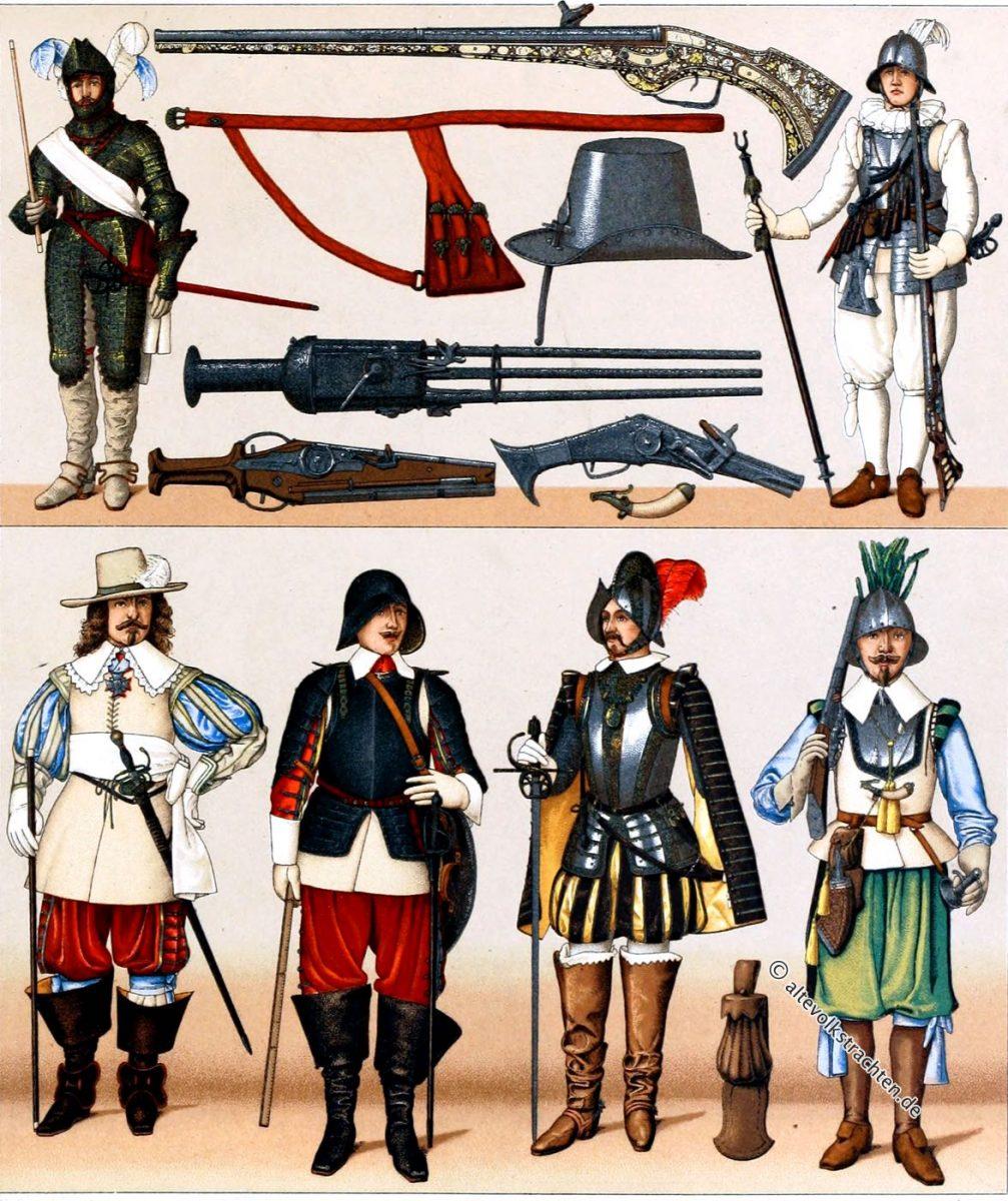 Frankreich militärische Trachten. Ende des XVI. und Anfang des XVII. Jahrhunderts. Waffen und Details der Ausrüstung.