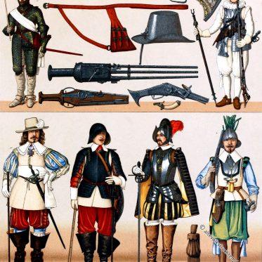 Frankreich militärische Trachten. 16. und 17. Jh.