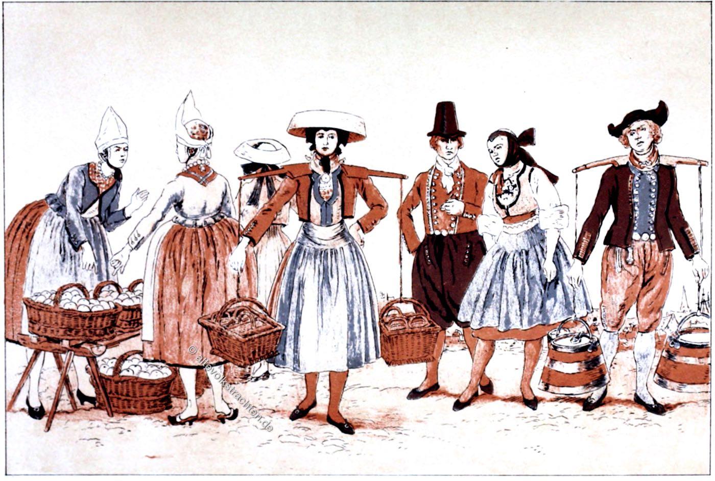 Trachten, Vier Lande, Hamburg, Vierlander Männertracht, Vierlanderin, Tanzkleidung, Trachtenbilder,