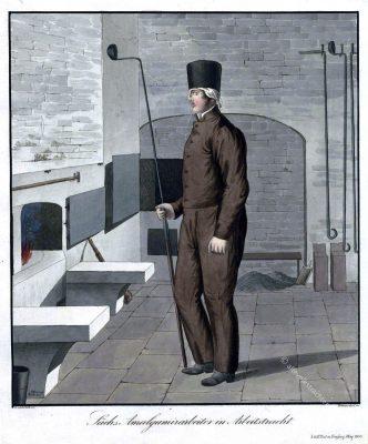 Sächsischer Amalgamierarbeiter in Arbeitstracht um 1830. Probierküche bei Freiberg.