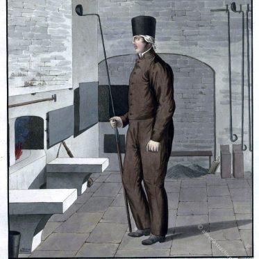 Sächsischer Amalgamierarbeiter in Arbeitstracht um 1830.
