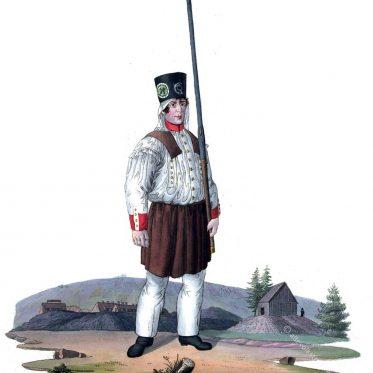 Freiberger Amalgamierarbeiter in Parade um 1830.