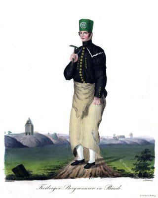 Freiberger Bergmauerer in Paradetracht. Sachsen 1830. Trachten der Berg- und Hüttenleute im Königreich Sachsen.