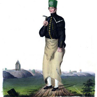 Freiberger Bergmauerer in Parade. Sachsen 1830.