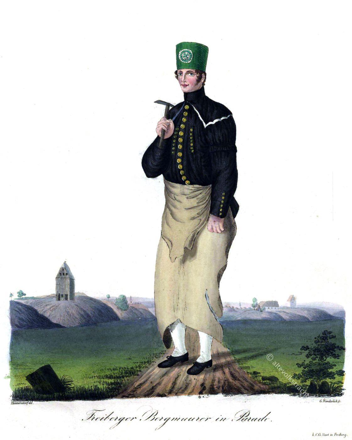 Freiberg, Sachsen, Trachten, Bergarbeiter, Bergmann, Hüttenleute, Bergmauerer, Paradetracht