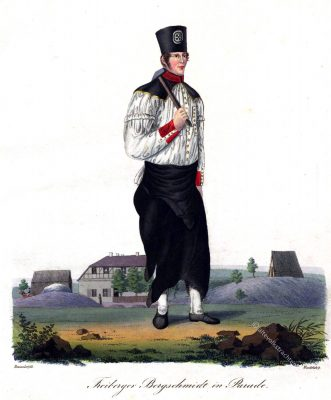 Freiberger Bergschmidt in Parade (bei C.G. Rost in Freiberg). Umgebung Grube Herzog August bei Freiberg.