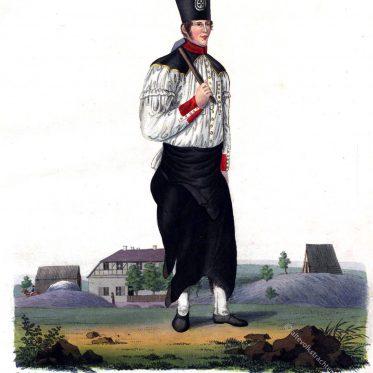 Sachsen 1830. Freiberger Bergschmied in Paradetracht.