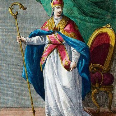 Bischof in Pontifikaltracht im 18. Jh. mit Mitra u. Krummstab.