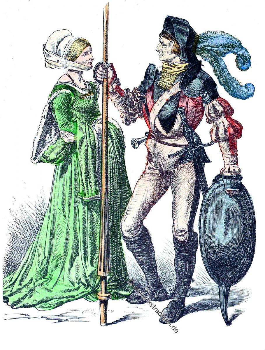 Deutsche Bürgerin und Bürger in Waffen um 1530. Zur Geschichte der Kostüme. Modeepoche der Renaissance.