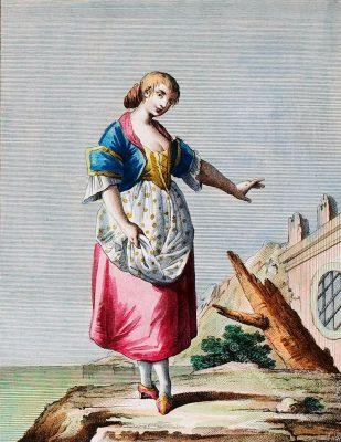 Tracht einer Frau aus St. Lucia, Süditalien, 18. Jh. Donna della Contrada di S. Lucia nella Citta di Napoli. Femme de la Paroisse de Ste. Lucie dans la Ville de Naples.