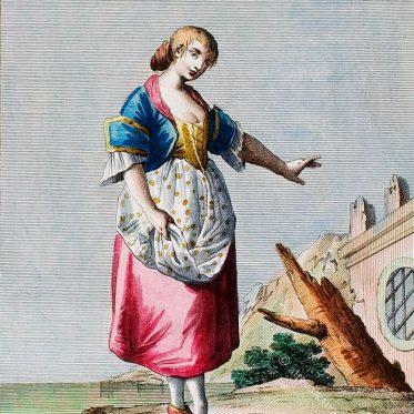 Tracht einer Frau aus St. Lucia, Süditalien, 18. Jh.