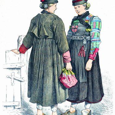 Defereggental, Österreich. Historische Trachten um 1840.