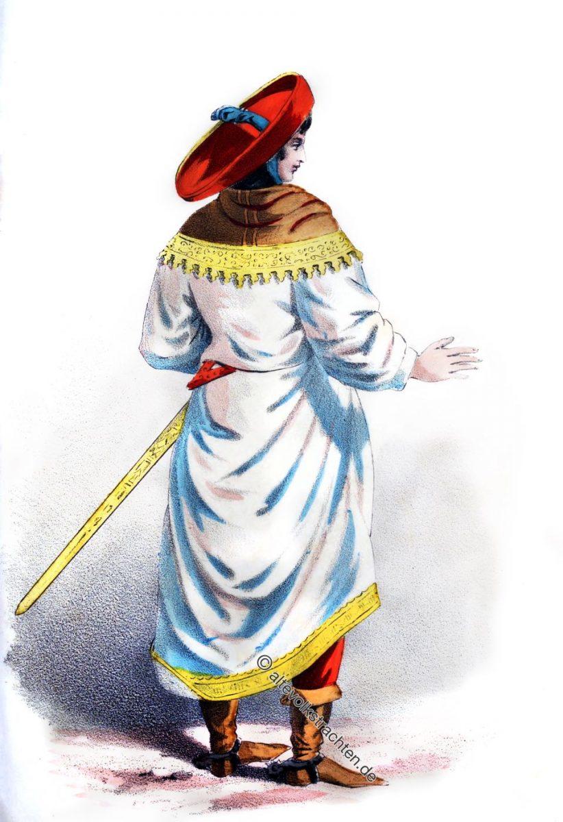 Ein deutscher Adliger des 15. Jh. in Renaissance Kostüm. E. S. Piccolomimi präsentiert Kaiser Friedrich III. die Braut Eleonora von Portugal.