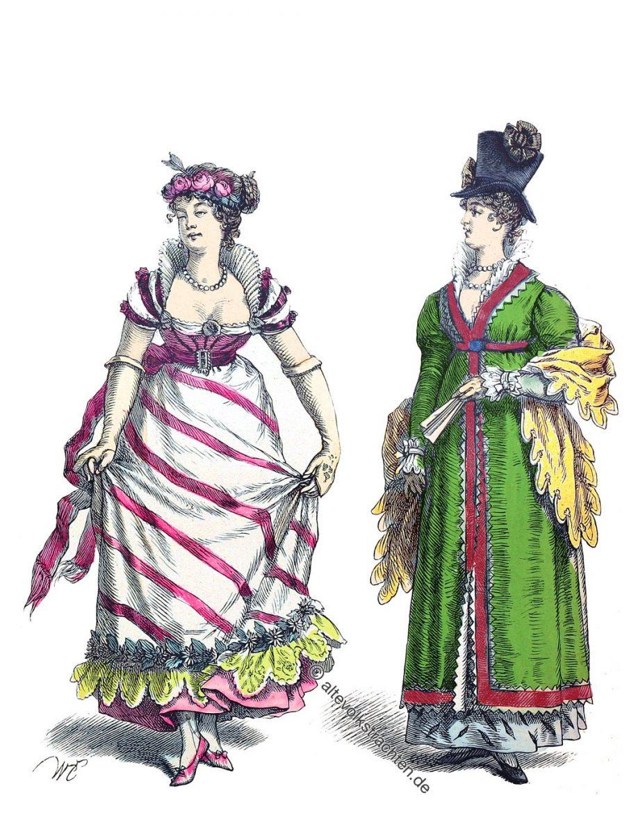 Mode des Empire 1805. Dame im Ballkleid. Dame mit Zylinderhut.