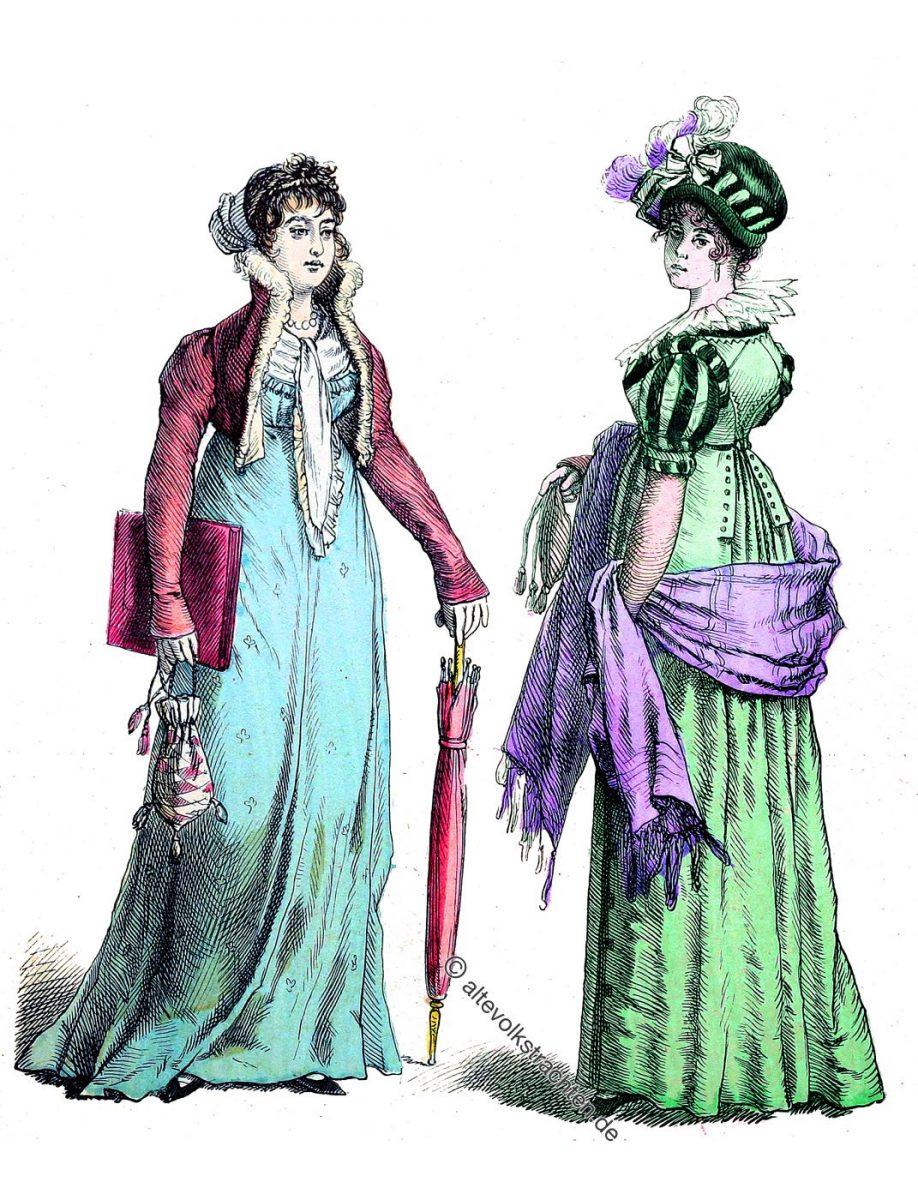Dame im Spenzer. Dame in Strassenkostüm. Mode des Empire um 1805.