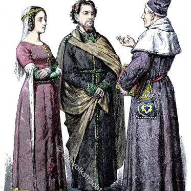 England 14. Jh. Bürgerliche Trachten von 1365 u. 1376.
